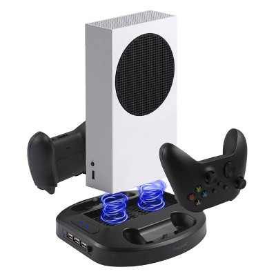 Insten Vertical Stand For Xbox Series S Console with Cooling Fan, Dual Controller Charging Dock Station, Extra 3 USB Hub, LED indicator
