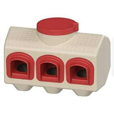 OverEZ Chicken Coop Indoor or Outdoor Covered Automatic Feeder for Up to 50 Pounds of Feed and Up to 15 Chickens