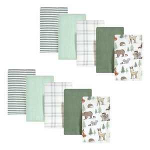 Hudson Baby Infant Boy Cotton Flannel Burp Cloths, Forest Animals, One Size