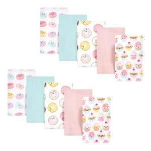 Hudson Baby Infant Girl Cotton Flannel Burp Cloths, Sweetest Cupcake, One Size