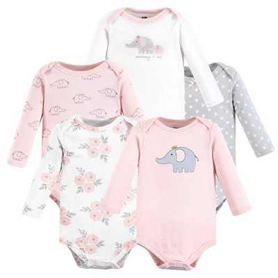 Hudson Baby Infant Girl Cotton Long-Sleeve Bodysuits, Pink Gray Elephant, 3-6 Months