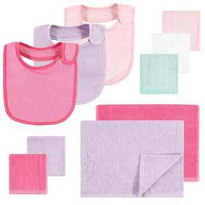 Hudson Baby Infant Girl Rayon from Bamboo Bib, Burp Cloth and Washcloth 10Pk, Pink Lilac, One Size