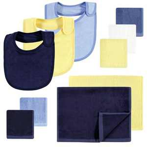 Hudson Baby Infant Boy Rayon from Bamboo Bib, Burp Cloth and Washcloth 10Pk, Blue Yellow, One Size