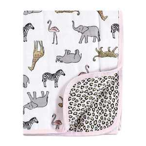 Hudson Baby Infant Girl Muslin Tranquility Quilt Blanket, Modern Pink Safari, One Size