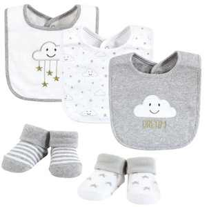 Hudson Baby Unisex Baby Cotton Bib and Sock Set, Gray Cloud, One Size