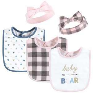 Hudson Baby Infant Girl Cotton Bib and Headband or Caps Set, Girl Baby Bear, One Size