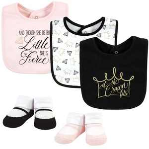 Yoga Sprout Baby Girl Cotton Bibs and Socks, Crown, One Size