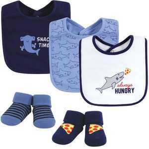 Hudson Baby Infant Boy Cotton Bib and Sock Set, Hungry Shark, One Size