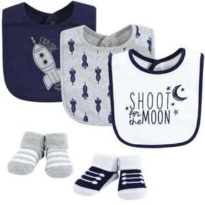 Yoga Sprout Baby Boy Cotton Bibs and Socks, Moon, One Size
