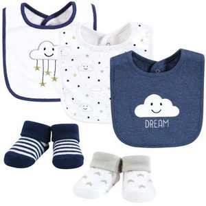 Hudson Baby Infant Boy Cotton Bib and Sock Set, Navy Cloud, One Size