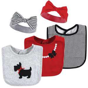 Hudson Baby Infant Girl Cotton Bib and Headband or Caps Set, Scottie Dog, One Size