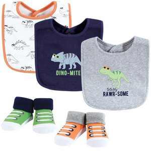 Hudson Baby Infant Boy Cotton Bib and Sock Set, Cool Dinosaurs, One Size