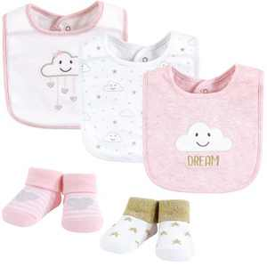 Hudson Baby Infant Girl Cotton Bib and Sock Set, Pink Cloud, One Size