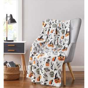 Kate Aurora Halloween Spooky Ghosts & Frankensteins Ultra Soft & Plush Oversized Accent Throw Blanket