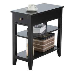 3Tier Nightstand Bedside Table Sofa Side End Table w/Double Shelves Drawer Black