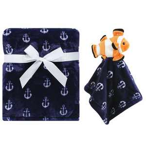 Hudson Baby Infant Boy Plush Blanket with Security Blanket, Clownfish, One Size