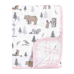 Hudson Baby Infant Girl Muslin Tranquility Quilt Blanket, Winter Forest, One Size