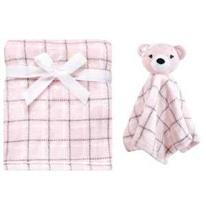 Hudson Baby Infant Girl Plush Blanket with Security Blanket, Pink Bear, One Size
