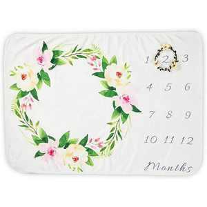 Farmlyn Creek Floral Baby Milestone Blanket with Small Wreath, Baby Photo Blanket, 40 x 27.5 in