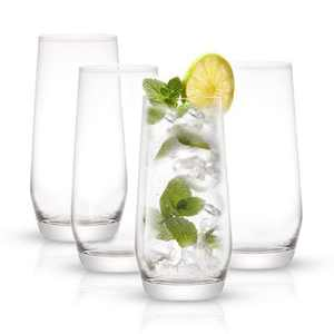 JoyJolt Gwen Highball Glasses - Set of 4 Lead-Free Crystal Glassware - 18oz
