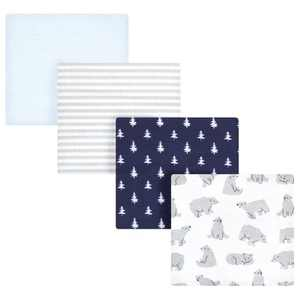 Hudson Baby Infant Boy Cotton Flannel Receiving Blankets, Bear Poses, One Size