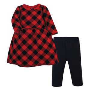 Hudson Baby Infant Girl Quilted Cotton Dress and Leggings, Buffalo Plaid
