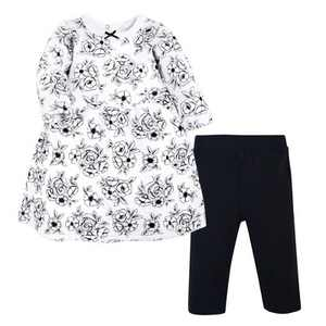 Hudson Baby Toddler Girl Quilted Cotton Dress and Leggings, Black Toile