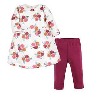 Hudson Baby Infant Girl Quilted Cotton Dress and Leggings, Autumn Rose