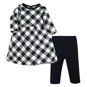 Hudson Baby Infant Girl Quilted Cotton Dress and Leggings, Black Gold Plaid