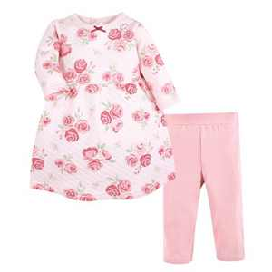 Hudson Baby Infant Girl Quilted Cotton Dress and Leggings, Blush Rose