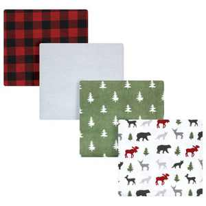 Hudson Baby Unisex Baby Cotton Flannel Receiving Blankets, Woodland Christmas, One Size