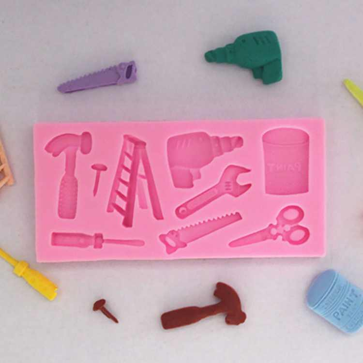 DALX Fondant Mold Cake Decor Scissor Hammer Ladder Fondant Mould Baking Pan Home Bakery Baking Tool