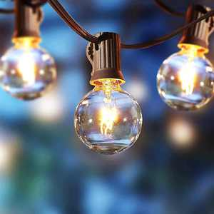 Better Homes & Gardens 110 Volts Electric 18.7 feet 20 Count G40 Clear Glass Globe Bulbs Brown Wire String Lights for Outdoor and Indoor Use