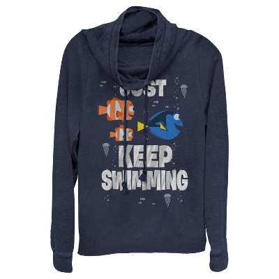 Junior's Finding Dory Just Keep Swimming Cowl Neck Sweatshirt