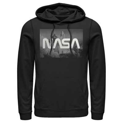Men's NASA Space Shuttle Blast Off Text Over Lay Pull Over Hoodie