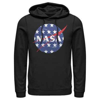 Men's NASA American Flag Large Stars Logo Pull Over Hoodie