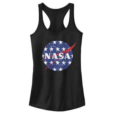 Junior's NASA American Flag Large Stars Logo Racerback Tank Top