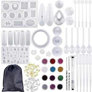 98Pcs DIY Silicone Resin Molds Pendant Jewelry Molds Crystal Craft Kit with a Black Storage Bag for DIY Jewelry Craft Making