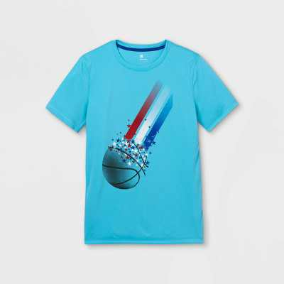 Boys' Short Sleeve Basketball Graphic T-Shirt - All in Motion Aqua