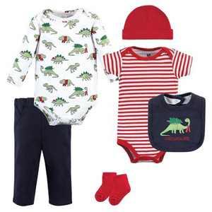 Hudson Baby Unisex Baby Cotton Layette Set, Christmasaurus