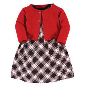 Hudson Baby Toddler and Baby Girl Quilted Cardigan and Dress, Black Red Plaid