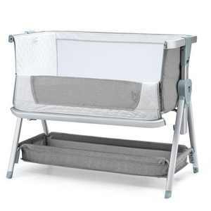 Babyjoy Baby Bed Side Crib Portable Adjustable Infant Travel Sleeper Bassinet Pink\ Dark Grey\Light Grey