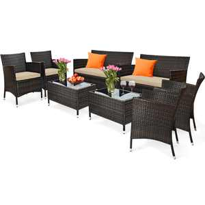 Gymax 8-Piece Patio Rattan Outdoor Furniture Set with Cushioned Chair Loveseat Table in Brown