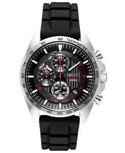 Men's Chronograph Black Silicone Strap Watch 43.9mm