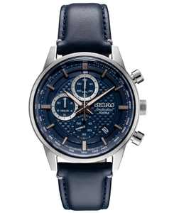 Men's Chronograph Blue Leather Strap Watch 42.7mm