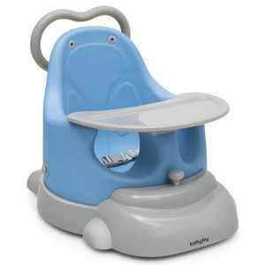 Babyjoy 6 in 1 Baby Booster Seat Convertible Toddler Walker w/Tray Wheels Orange\Blue