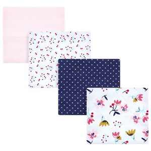 Hudson Baby Infant Girl Cotton Flannel Receiving Blankets, Fall Flowers, One Size