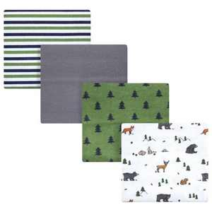 Hudson Baby Infant Boy Cotton Flannel Receiving Blankets, Woodland Tales, One Size