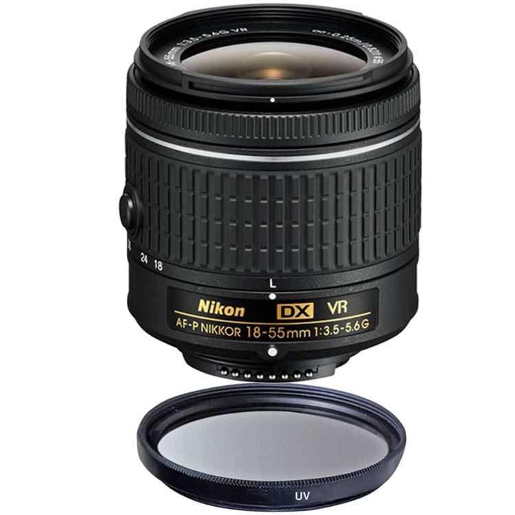 Nikon 18-55mm f/3.5 - 5.6G VR AF-P DX Nikkor Lens + 55mm UV Filter