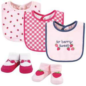Hudson Baby Infant Girl Cotton Bib and Sock Set, Pink Strawberry, One Size